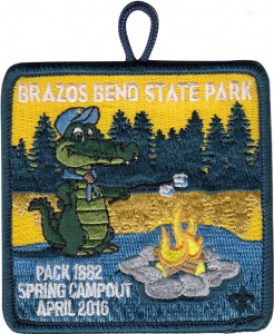 Alligator Roasting Marshmallows Patch Design Idea