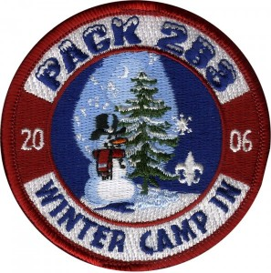 Snowman Camp Embroidered Patch Design Idea