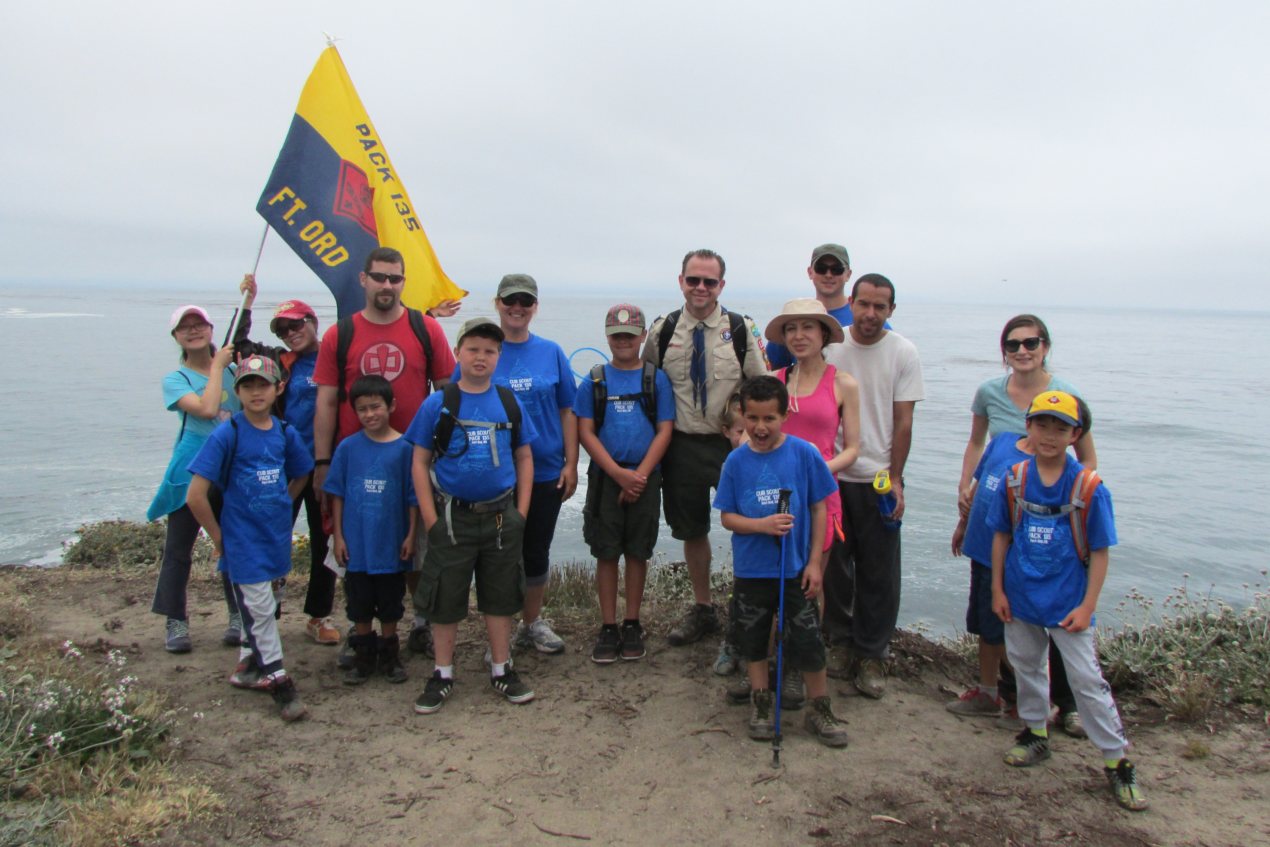 Cub Scout Pack In Fort Ord CA Posing In Front Of Beautiful California Coast Line
