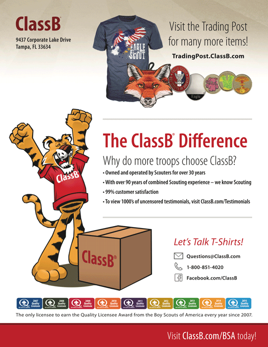 ClassB BSA troop catalog back cover graphic t-shirts pack gear and boy scout gear