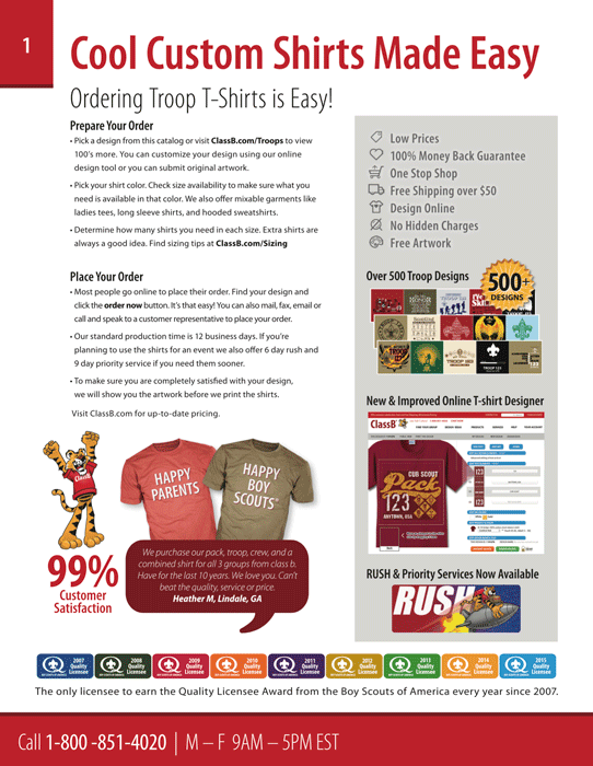 ClassB boy scout troop catalog page 1 cool custom shirts made easy