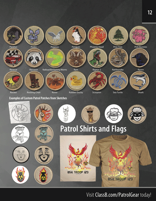 ClassB custom boy scout troop catalog page 11 patch stock designs