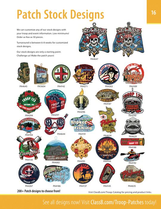 ClassB Boy Scout Troop Catalog Page 16 Stock Patch Designs