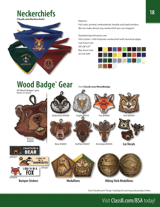 boy scout troop catalog page 18 coins neckerchiefs wood badge