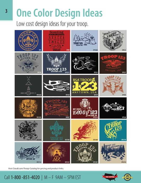 Custom boy scout t-shirt ClassB catalog page 3 one color boy scout troop designs
