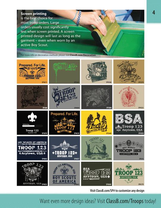 ClassB boy scout custom troop t-shirt catalog page 4 screen printing vs digital printing