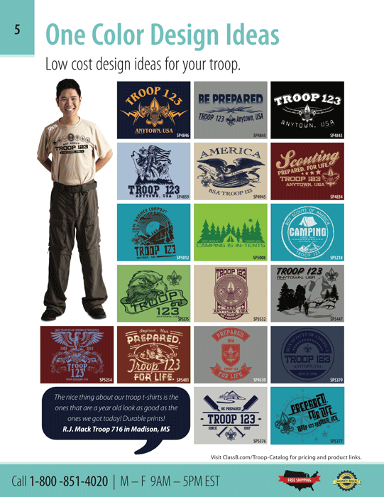 Page 5 of the ClassB boy scout catalog  custom one color troop t-shirt