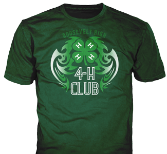 4-H Club stock design SP2722 on green t-shirts