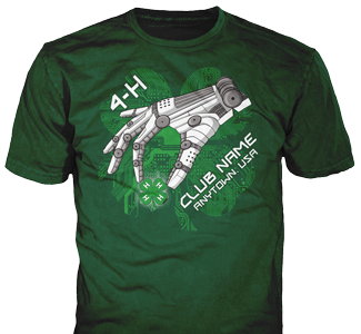 4-H Club stock design SP5196 on forest green t-shirts