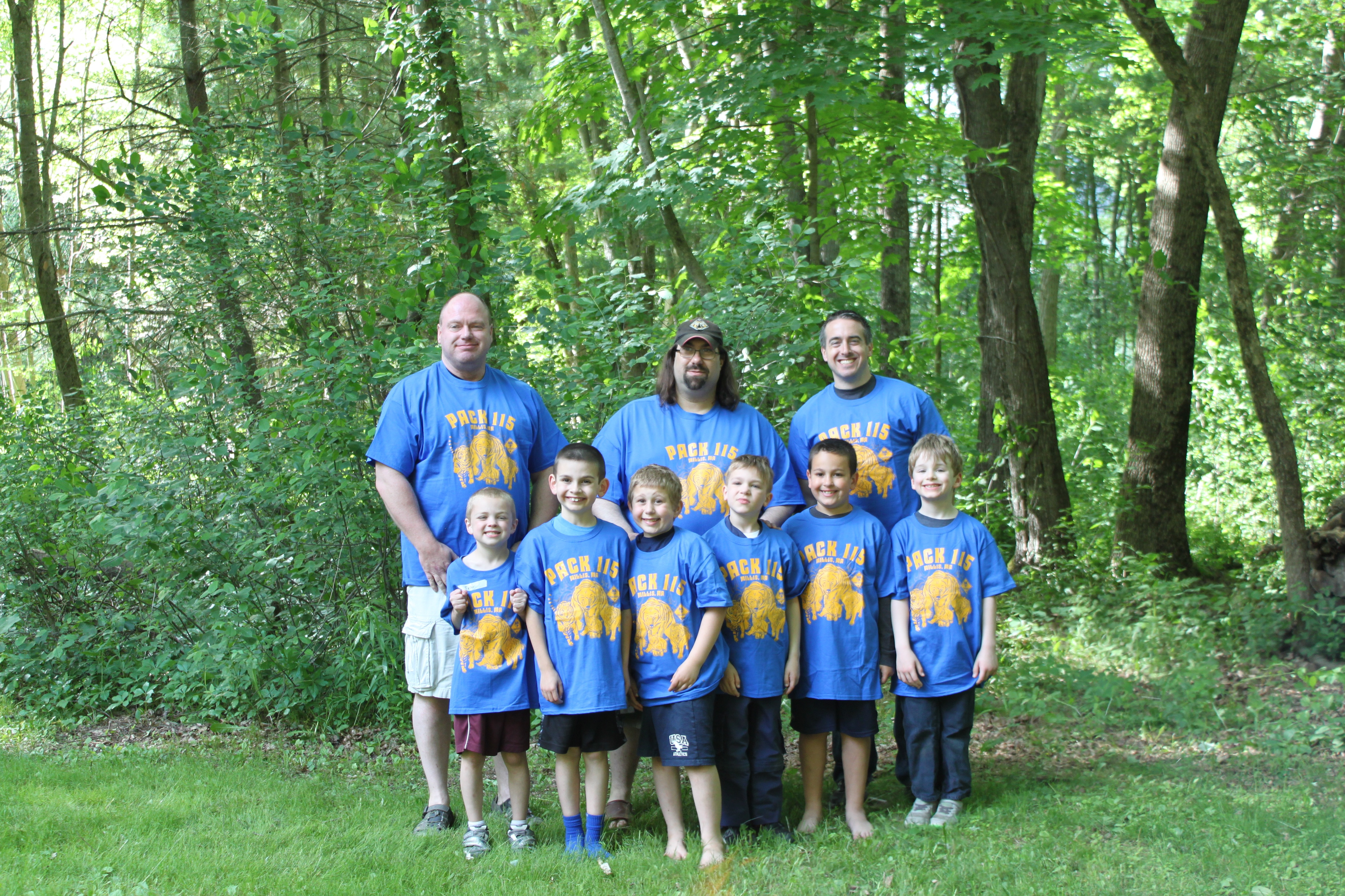 Cub Scout Pack 115 Is Pictured At Their End Of Year Barbecue Wearing Their Brand New ClassB T-shirts