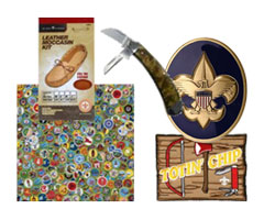 scout troop coins, scrapbooking, knives and retail items