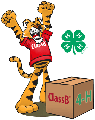 Tiger opening a box of 4-H custom t-shirts