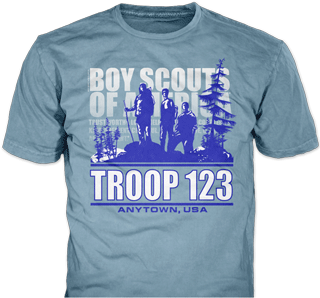 Boy Scout Troop t-shirt design idea SP3290 on light blue t-shirts