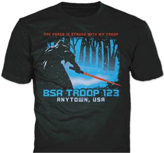 Boy Scout Troop t-shirt design idea SP6439 on black t-shirts
