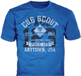Cub Scout Pack t-shirt design idea SP5237 on royal blue t-shirts