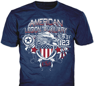 American Legion Auxiliary Post t-shirt design idea SP5901 on navy t-shirts