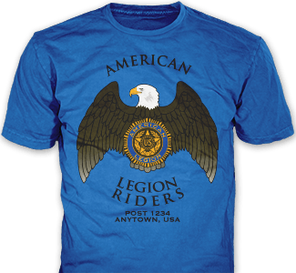 American Legion Riders t-shirt design idea SP4450 on royal blue t-shirts