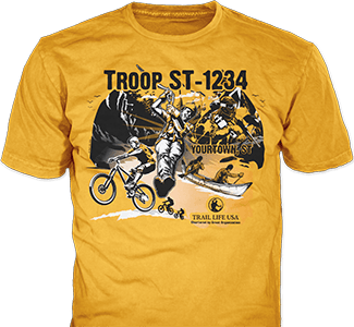 Trail Life USA t-shirt design idea SP5915 on gold t-shirts