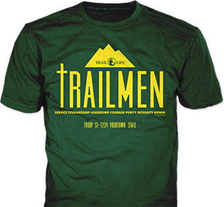 Trail Life USA t-shirt design idea SP6335 on forest green t-shirts