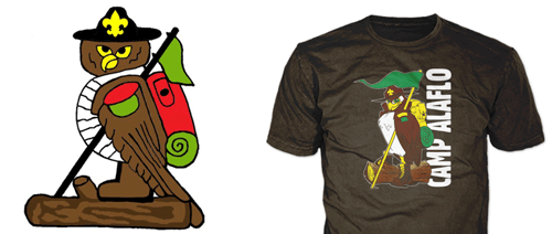 drawing of camp mascot showing final summer camp t-shirt with owl
