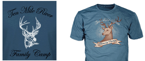 drawing of troop t-shirt design showing final boy scout t-shirt for ten mile campout