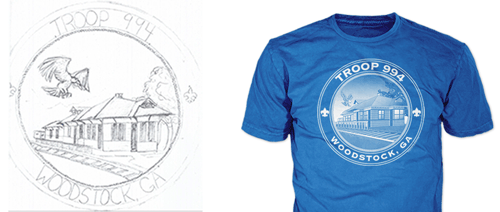 drawing of troop t-shirt design showing final boy scout troop t-shirt for scouts of woodstock GA
