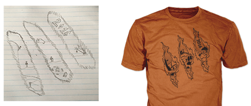 drawing of philmont trek t-shirt design showing final philmont t-shirt with bear claws across shirt