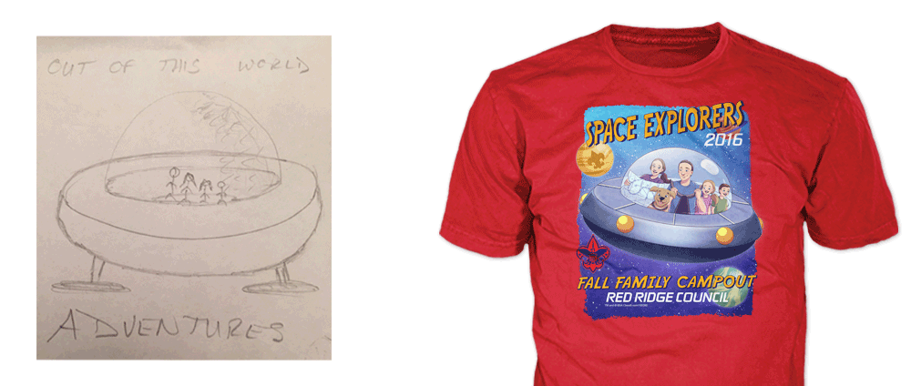 T-shirt concept drawing of design on left, custom screen printed boy scout t-shirt on right
