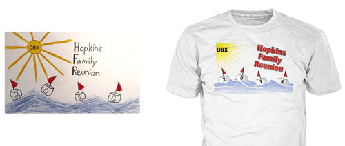 drawing of family t-shirt design showing final family reunion t-shirt with bouys on the water