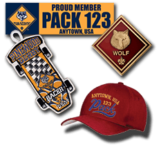Custom Cub Scout Pack Gear bumper stickers caps patches