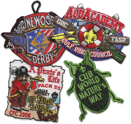 custom patch examples bug patch, pirate patch, pinewood derby and aqua academy patches =
