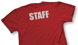 staff on back of camp t-shirt