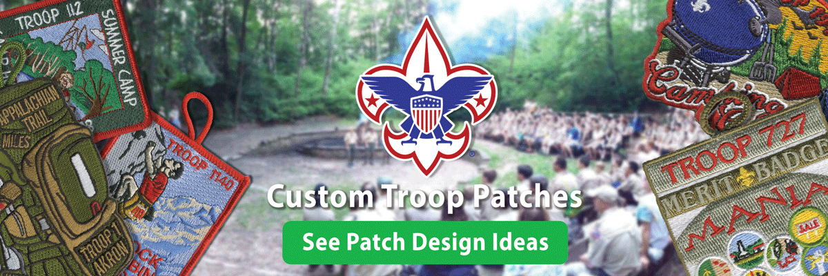 boy scout troop custom t-patch ordering is easy • low prices • free shipping