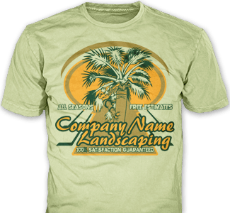Lawn Care t-shirt design idea SP2985 on green t-shirts