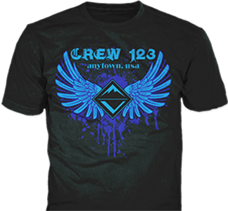Venturing Crew t-shirt design idea SP3893 B110 on black t-shirts