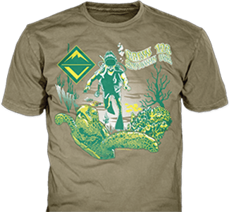 Venturing Crews t-shirt design idea SP4389 B110 on khaki t-shirts