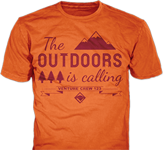Venturing Crew t-shirt design idea SP5468 B110 on orange t-shirts
