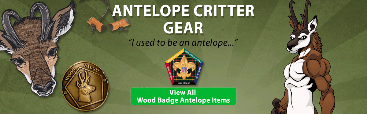 wood badge Antelope critter gear header image