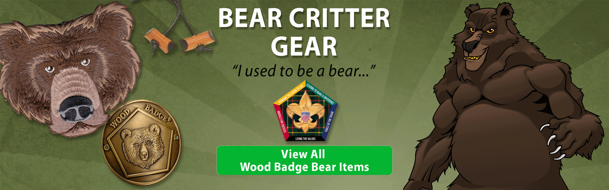 wood badge Bear critter gear header image