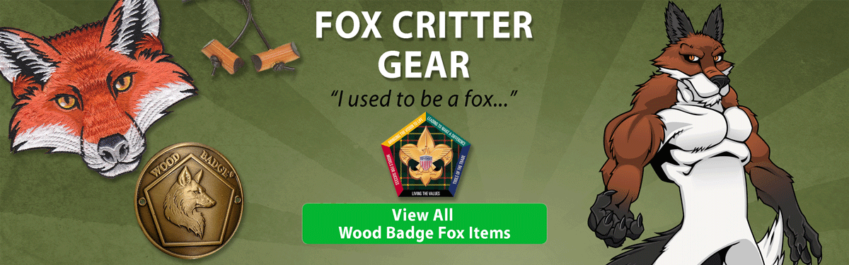 wood badge fox critter gear header image