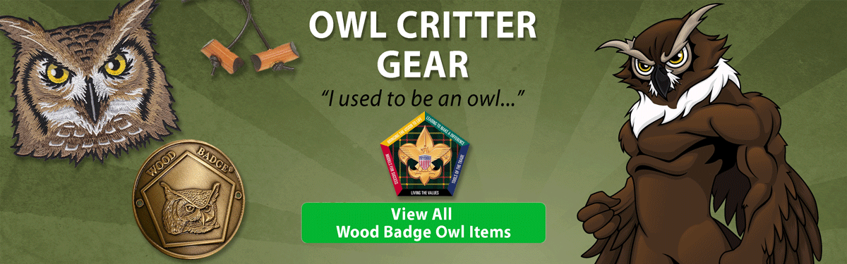wood badge owl critter gear header image