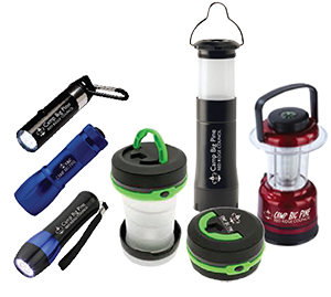 flashlights and lanterns with your logo for boy scout camps