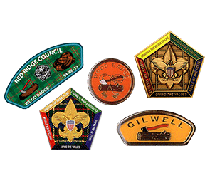 wood badge pins and coins