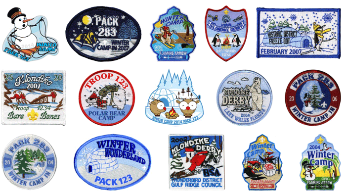 klondike derby winter camp patches for boy scouts