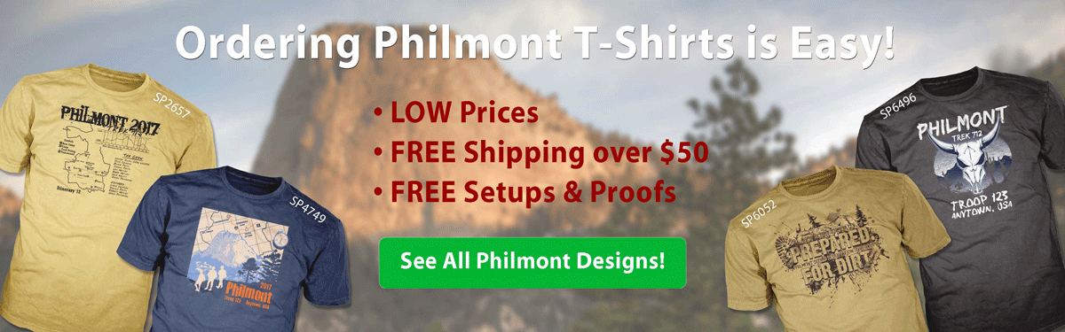 philmont trek t-shirt ordering is easy •low prices •free shipping