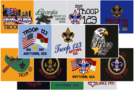 Custom neckerchief embroidered designs for scouts
