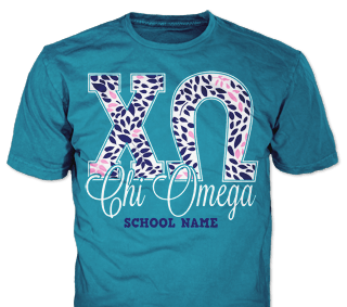 Chi Omega t-shirt design idea SP5791 on blue t-shirts