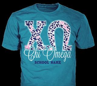 Chi Omega t-shirt design idea SP5791 on blue t-shirts