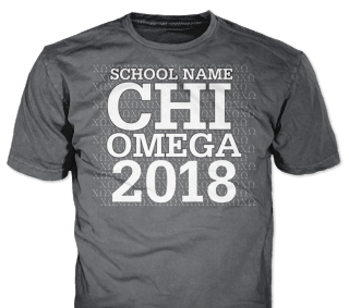Chi Omega t-shirt design idea SP6263 on tweed t-shirts