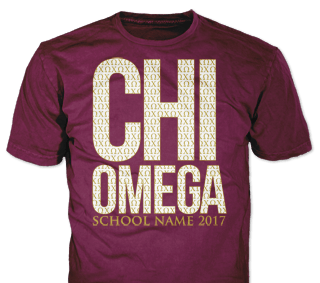 Chi Omega t-shirt design idea SP6265 on maroon t-shirts